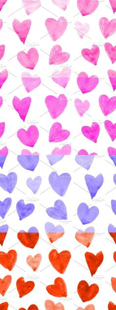 Watercolor hearts. 4 patterns. Wedding Card Templates