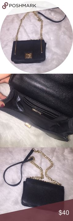 [ALDO] •Crossbody Purse• Gently used black & gold faux leather crossbody by ALDO. A few scratches on gold hardware (see last photo). 3 credit card slots inside the bag. ALDO Bags Crossbody Bags