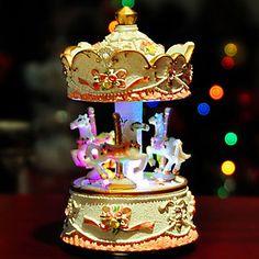 mijn hart zal gaan op merry go round muziek box met licht (wit) - EUR € 34.38