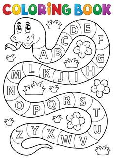 Coloring Book Snake With Alphabet Theme Stock Vector - Illustration of drawing, education: 65596159 Preschool Writing, Preschool Learning Activities, Free Preschool, Alphabet Activities, Toddler Learning, Kindergarten Worksheets, Alphabet Tracing Worksheets, Alphabet Coloring Pages, Coloring Books
