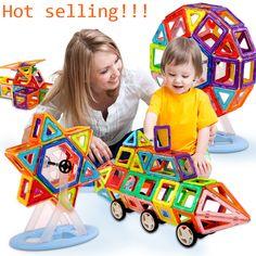 Mini 64PCS Magnetic Designer Construction Building Blocks Kids Toys Educational Plastic Bricks Technic Assembly Enlighten Blocks