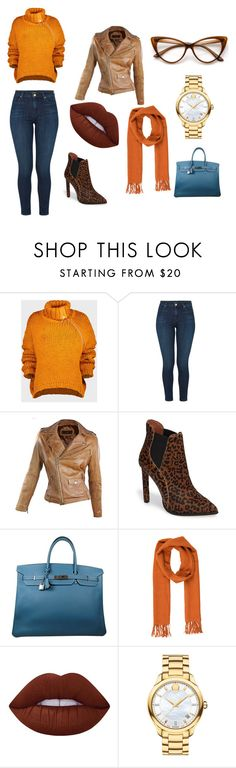 Saturday Day Date by charlseawhitaker on Polyvore featuring Marques'Almeida, J Brand, Jeffrey Campbell, Hermès, Movado, Salvatore Ferragamo and Lime Crime