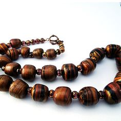 Rich colored beads in polymer clay necklace by MaryClaires on Etsy