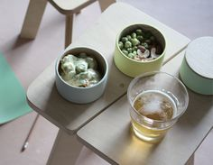 Mimoto - Stacking Containers BORDER 003 (grey, mint, cream) Designed by MUTE.