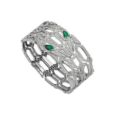 Serpenti Seduttori diamond bracelet with emerald eyes