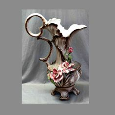 Vintage 20 Inch Capodimonte Porcelain Ewer Pitcher - Crown N Mark - Four Footed Base - Decorated with Roses by AnchorLineVintage on Etsy