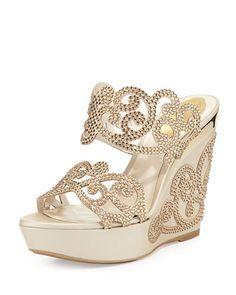Crystal Scroll Double-Band Wedge Sandal summer 2015 - Fashion Te