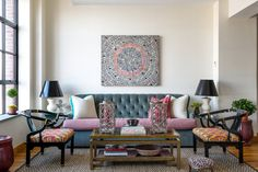 Anne Maxwell Foster of Tilton Fenwick: Kravet Medley sofa; armchairs from eBay; table is by Oscar de la Renta for Century Furniture; painting is by Cindy Kane.