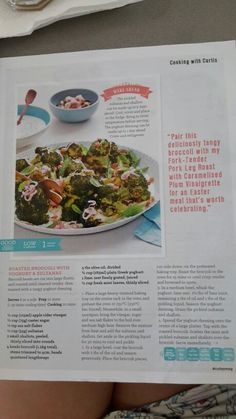 Roasted broccoli with yoghurt and sultanas
