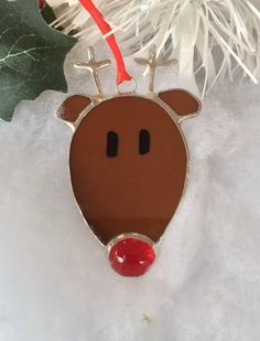 Rudolph Christmas Tree Decoration, Stained Glass Rudolph Christmas Decoration £8.50