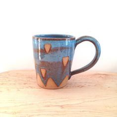 Large Turquoise and brown Ceramic Mug, geometric coffee cup triangle mountain design wheel thrown coffee mug blue ceramic mug