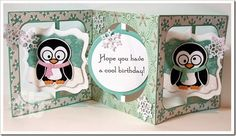 Frances Byrne using the Pop it Ups Fancy and Circle Accordion Albums, Fancy Seasons Frame Edges, Chilly the Penguin and other accessory dies by Karen Burniston for Elizabeth Craft Designs. - A Winter Birthday
