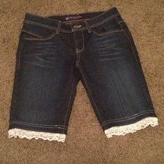 Lace Trimmed Knee Length Shorts