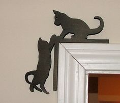 Cats silhouette in door frame. - - Cats silhouette in door frame. Metal Art, Wood Art, Wood Projects, Woodworking Projects, Cute Kittens, Cat Silhouette, Scroll Saw Patterns, Art Mural, Wood Toys