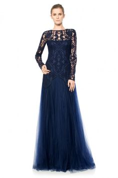 79a32cd2f835 Sheer Illusion Long Sleeve Gown