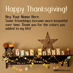 Happy Thanksgiving Wishes With Name