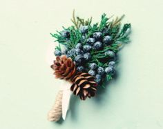 Winter Wedding Boutonniere natural buttonhole by WoodlandBlossoms