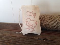 Baby Shower Muslin Favor Bag Sweet Baby Chick by SweetThymes, $12.50