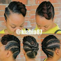 Unique, Neat, and Protective! Styled by the talented Unique, Neat, and Protective! Black Hair Updo Hairstyles, Flat Twist Hairstyles, Flat Twist Updo, African Braids Hairstyles, Girl Hairstyles, Braided Hairstyles, Natural Hairstyles, Easy Hairstyle, Natural Braid Styles