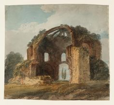 Joseph Mallord William Turner, Thomas Girtin 'Rome: The Ruined Nymphaeum of Alexander Severus ('Temple of Minerva Medica')', c.1796 - Watercolour on paper -  Dimensions Support: 217 x 234 mm -  Collection -  Tate