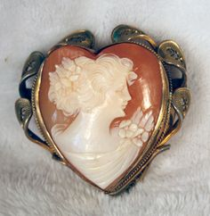 Antique Shell Cameo Pin
