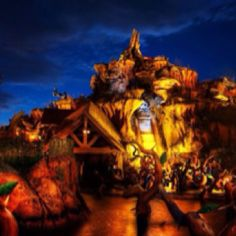 Splash mountain looks great on a cloudy evening