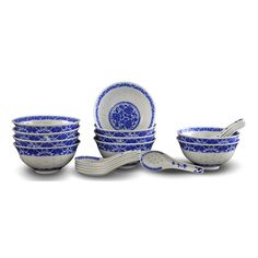 10 Pcs Fine Porcelain Blue and White Rice Pattern Bowls, Cereal Bowls, Rice Bowls with Free 10 Porcelain Spoons Jingdezhen China Soup Bowl, Fruit Bowl Set Rice Bowls, Cereal Bowls, Japanese Bowls, Oriental Decor, Asian Home Decor, Bowl Designs, Chinese Culture, Fine Porcelain, Chinese New Year