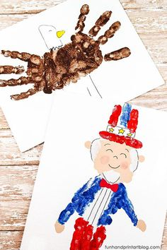 Teach kids about our patriotic symbols by creating cute Fourth of July Hand Paintings. Canvas art tutorial featuring a handprint Uncle Sam & bald eagle. Patriotic Symbols, Patriotic Crafts, July Crafts, 4th Of July Fireworks, Fourth Of July, Projects For Kids, Crafts For Kids, School Projects, Independence Day Activities