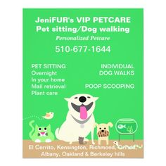 Green Pet Sitter Promotional Flyer Care Clinic Animal Best