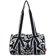 Quilted Damask White Stripe Small Duffle Tote Bag Black  gymbags White  Damask 887148fb87d34
