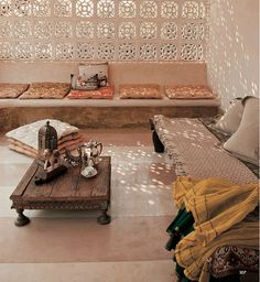 Bohemian Home Interiors: Moroccan style sitting room- build storage under seating Decor, House Design, Interior And Exterior, Moroccan Interiors, Interior, Home, Moroccan Decor, House Interior, Interior Design