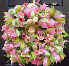 Spring Easter Deco Mesh Wreath  Spring Easter by FestivalofWreaths