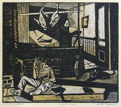 Artwork By Will Barnet Butchers Son Made Of Color Woodcut Printed In Black And Greenish Gold On Warm Cream Japan Paper