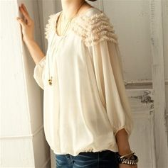 Ruffle Sleeve Blouse...I would love this toughened up with jeans and boots or steampunk jewelry