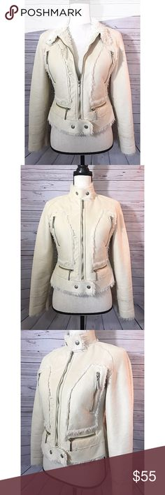 """Bebe Faux Fur Creme Jacket Perfect for Fall and early Winter! The outer shell feels and looks like suede although material tag says 100% Polyester. It's in great condition with just two flaws. 1.back of the jacket, the material on the lower back is slightly stretched looks a tad """"wrinkly"""".(Pictured) 2. the two snap buttons on the bottom are a little tarnished. (Pictured) It is also missing the detachable hood. 📦Same or next day shipping!! bebe Jackets & Coats"""