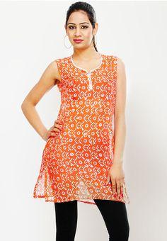 Sleeve Less Printed Orange Kurti - Mksp - KURTIS & KURTAS - WOMEN