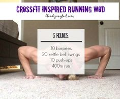 CrossFit Inspired Running Workout (Blonde Ponytail) - Wod Workout, Running Workouts, No Equipment Workout, Fun Workouts, At Home Workouts, Fitness Equipment, Circuit Workouts, Workout Ideas, Fitness Workouts