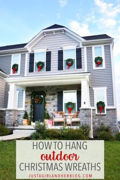 Learn how to hang outdoor Christmas wreaths on exterior windows the easy way, and make your outdoor decor look beautiful this holiday season! Christmas Wreaths For Windows, Christmas Porch, Outdoor Christmas Decorations, Window Wreaths, Merry Christmas, Christmas Bedroom, Christmas Tablescapes, Christmas Mantels, Elegant Christmas