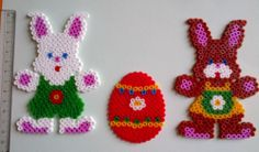Easter Decorations Set - bunny, egg - hama perler beads by Cristina Moran