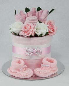Diaper cake with matching booties