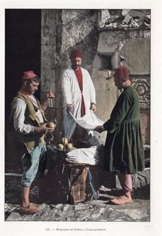 A street seller and two customers. Istanbul, ca. Old Photos, Vintage Photos, Ottoman Turks, Archaeological Discoveries, Turkish Art, Ottoman Empire, Historical Pictures, Istanbul Turkey, World Cultures