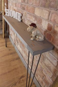 Narrow Industrial Reclaimed Style Console Table Hall Table