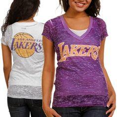 Touch by Alyssa Milano Los Angeles Lakers Ladies Superfan III Burnout Premium V-Neck T-Shirt - Purple-White