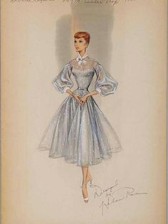 Debbie Reynolds costume sketch by Helen Rose Disney Characters, Fictional Characters, Fashion Sketches, Cinderella, Disney Princess, Womens Fashion, Women's Fashion, Ladies Fashion, Fashion Women