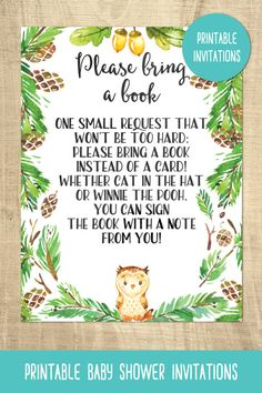 Owl baby shower invitations | bring a book card | forest | printable
