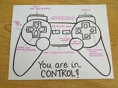 Kids Health Love the game controller idea for an image listing strategies and ideas for any situation. This one is about test-taking strategies, but it could be for all kinds of coping strategies, anger management strategies, etc. Learning Tips, Counseling Activities, Coping Skills Activities, Anger Management Activities For Kids, Group Therapy Activities, Stress Management, Leadership Activities, Career Counseling, Social Work Activities