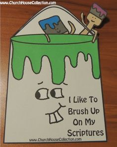 Church House Collection Blog: I Like To Brush Up On My Scriptures-Paint Can And Paint Brushes Cutout Printable Template For Kids. #sunday #school #crafts #kids #paint #brush #can #printable #template #preschool #colors