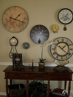 Clock wall  Set each one for family and friends that live in different time zones!  Good for military families.