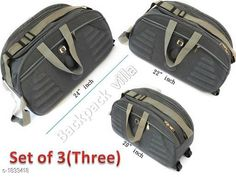Bags & Backpacks Trendy Duffle Travelling Bag With Plastic Wheel ( Pack Of 3) Material: Matty fabric with plastic Wheel  Size: (L X W X H): 20 in X 22 in X 24 in Compartments: 2 Description: It Has Set of 3 Travel Duffle bag with plastic body Two wheel  Pattern: Solid Sizes Available: Free Size *Proof of Safe Delivery! Click to know on Safety Standards of Delivery Partners- https://ltl.sh/y_nZrAV3  Catalog Rating: ★4.1 (7381)  Catalog Name: Free Gift Trendy Duffle Travelling Bag With Plastic Wheel Vol 4 CatalogID_241113 C65-SC1234 Code: 459-1833418-