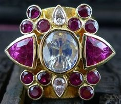 Paula Crevoshay Tourmaline, Ruby, Moonstone, and Diamond Ring in 18K Yellow Gold